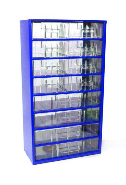 Skříňka na drobné součástky do dílny Mars; 8 S, 4 V - modrá
