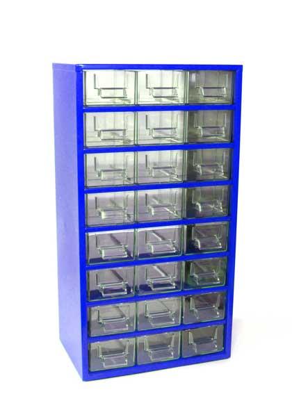 Skříňka na drobné součástky do dílny Mars; 12D, 12E - modrá